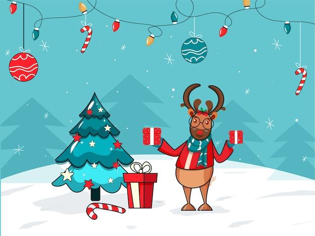 Personagem de desenho animado de rena com caixas de presente