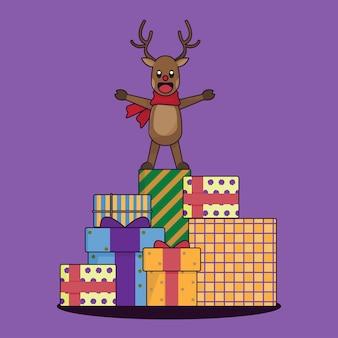 Personagem de desenho animado de rena de natal
