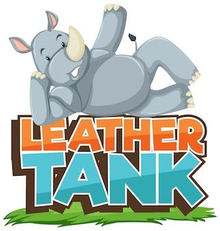 Personagem de desenho animado de rinoceronte com banner de fonte de tanque de couro isolado