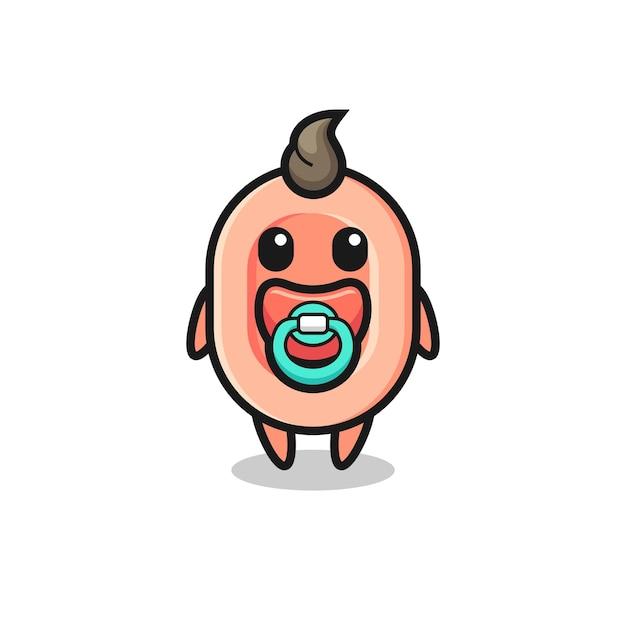 Personagem de desenho animado de sabonete de bebê com chupeta, design de estilo fofo para camiseta, adesivo, elemento de logotipo