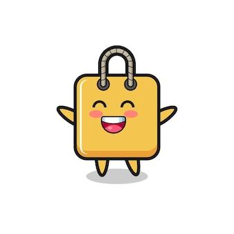 Personagem de desenho animado de sacola de compras de bebê feliz, design de estilo fofo para camiseta, adesivo, elemento de logotipo