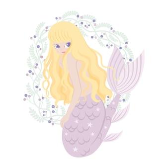 Personagem de desenho animado de sereia com quadro de flores