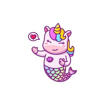 Personagem de desenho animado de sereia de unicórnio fofa