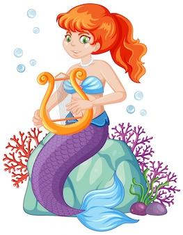 Personagem de desenho animado de sereia fofa