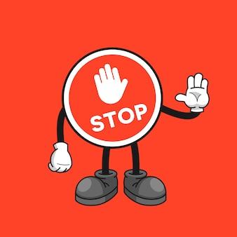 Personagem de desenho animado de sinal de stop com um gesto de mão parada