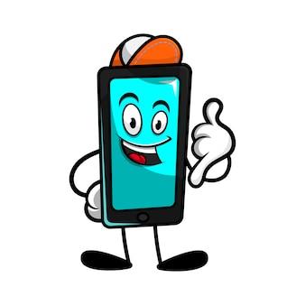 Personagem de desenho animado de smartphone com gesto de chamada prepare-se para reparo ou manutenção de seu gadget cartoon vector