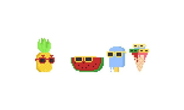 Personagem de desenho animado de sobremesa de verão pixel