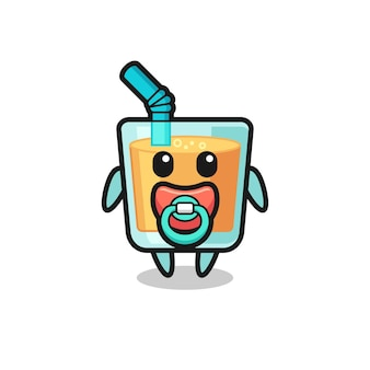 Personagem de desenho animado de suco de laranja bebê com chupeta, design de estilo fofo para camiseta, adesivo, elemento de logotipo