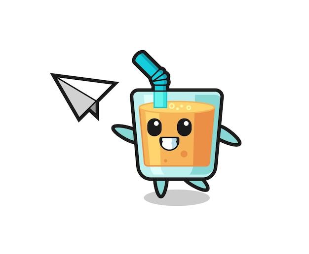 Personagem de desenho animado de suco de laranja jogando avião de papel, design de estilo fofo para camiseta, adesivo, elemento de logotipo