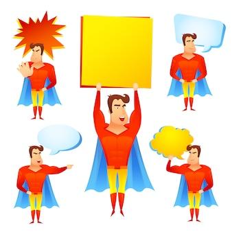 Personagem de desenho animado de super-herói com bolhas do discurso