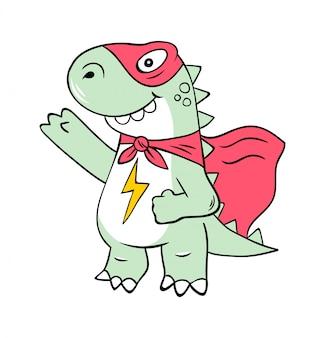 Personagem de desenho animado de super-herói do super dinossauro t-rex na máscara.