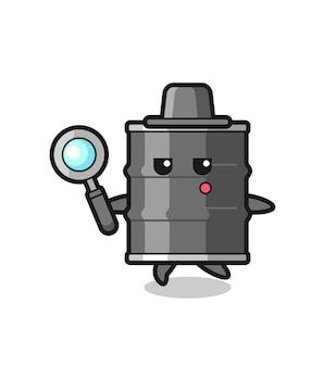 Personagem de desenho animado de tambor de óleo pesquisando com uma lupa, design fofo