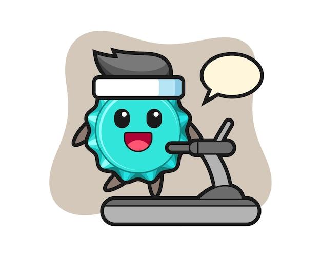 Personagem de desenho animado de tampa de garrafa andando na esteira