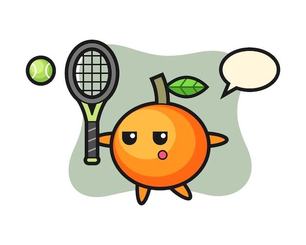 Personagem de desenho animado de tangerina como jogador de tênis, estilo fofo, adesivo, elemento de logotipo