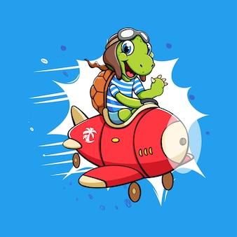 Personagem de desenho animado de tartaruga, montando um avião de ar