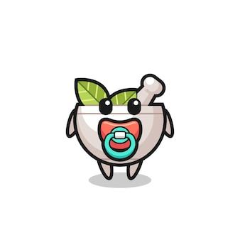 Personagem de desenho animado de tigela de ervas para bebês com chupeta, design de estilo fofo para camiseta, adesivo, elemento de logotipo