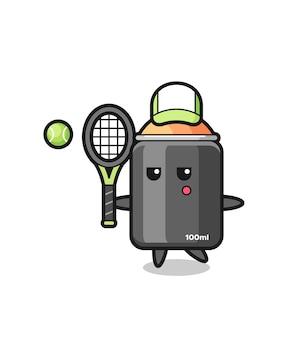 Personagem de desenho animado de tinta spray como jogador de tênis, design de estilo fofo para camiseta, adesivo, elemento de logotipo