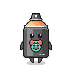 Personagem de desenho animado de tinta spray de bebê com chupeta, design de estilo fofo para camiseta, adesivo, elemento de logotipo