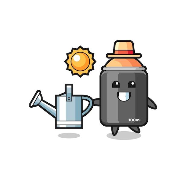 Personagem de desenho animado de tinta spray segurando um regador, design de estilo fofo para camiseta, adesivo, elemento de logotipo