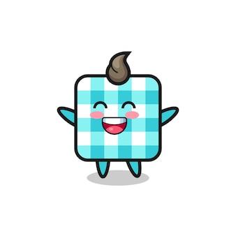 Personagem de desenho animado de toalha de mesa quadriculada bebê feliz, design de estilo fofo para camiseta, adesivo, elemento de logotipo
