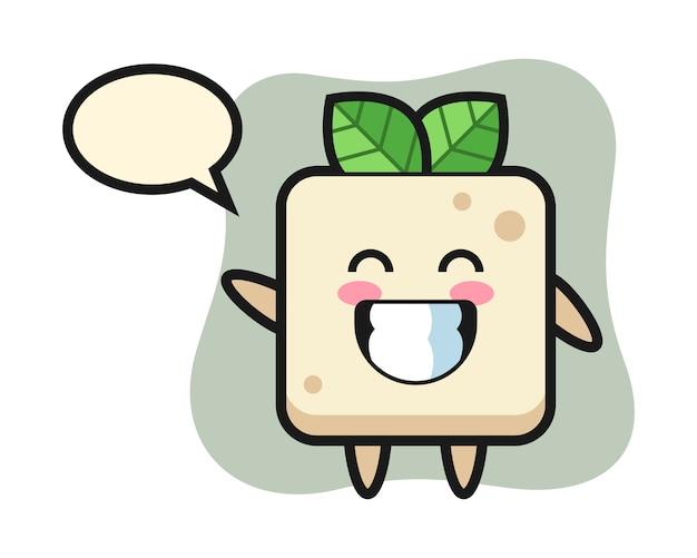 Personagem de desenho animado de tofu, fazendo o gesto com a mão onda, design de estilo bonito para camiseta