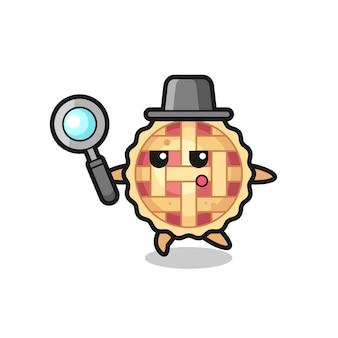 Personagem de desenho animado de torta de maçã pesquisando com uma lupa, design de estilo fofo para camiseta, adesivo, elemento de logotipo