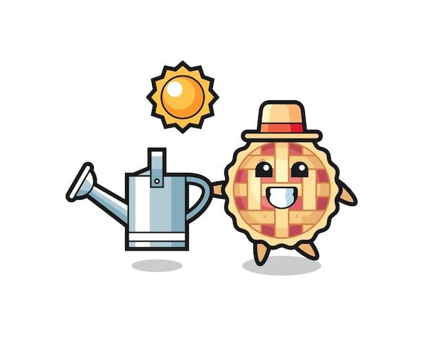 Personagem de desenho animado de torta de maçã segurando um regador, design de estilo fofo para camiseta, adesivo, elemento de logotipo