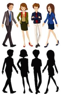 Personagem de desenho animado de trabalhador de escritório com sua silhueta