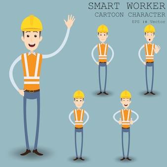Personagem de desenho animado de trabalhador inteligente