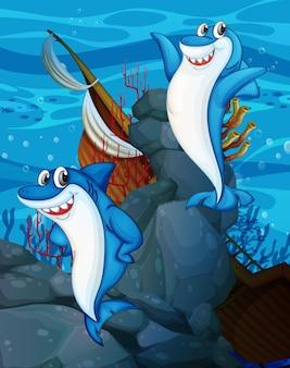Personagem de desenho animado de tubarão feliz na cena subaquática com muitos peixes exóticos