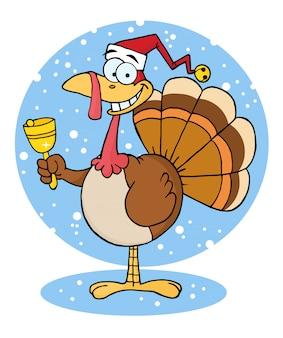 Personagem de desenho animado de turquia de natal tocando um sino