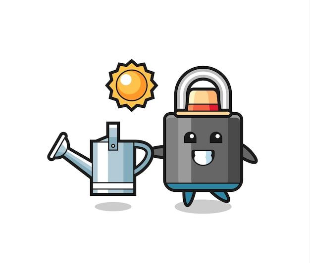 Personagem de desenho animado de um cadeado segurando um regador, design de estilo fofo para camiseta, adesivo, elemento de logotipo