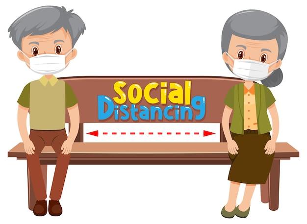 Personagem de desenho animado de um casal de idosos mantendo um distanciamento social em um fundo branco
