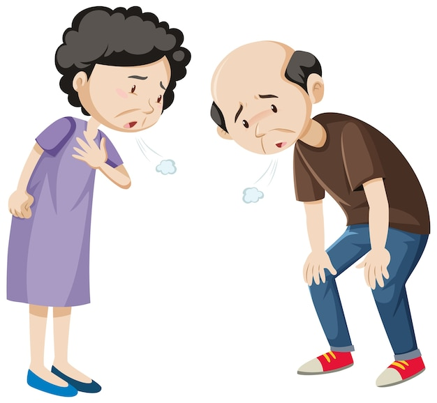 Personagem de desenho animado de um casal velho e cansado