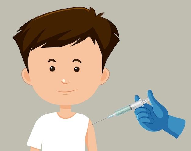 Personagem de desenho animado de um homem recebendo uma vacina