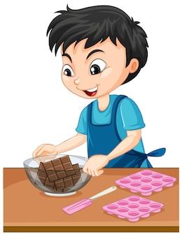 Personagem de desenho animado de um menino com equipamentos de panificação