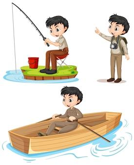 Personagem de desenho animado de um menino em trajes de acampamento, fazendo atividades diferentes