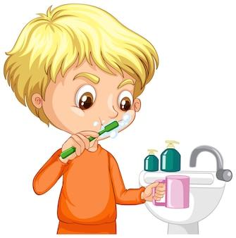 Personagem de desenho animado de um menino escovando os dentes com pia de água