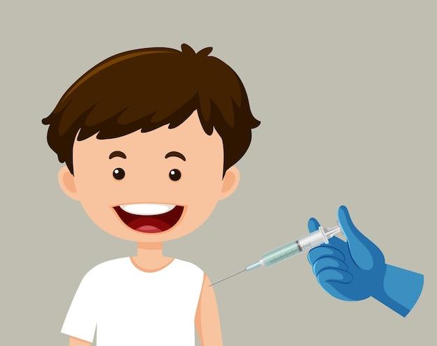 Personagem de desenho animado de um menino recebendo uma vacina