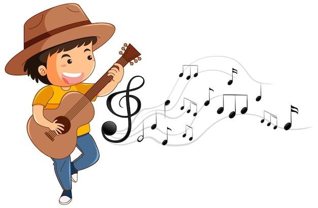 Personagem de desenho animado de um menino tocando violão com símbolos de melodia