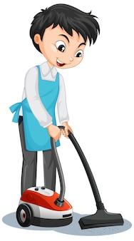 Personagem de desenho animado de um menino usando aspirador de pó