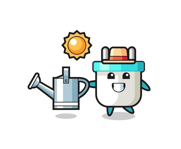 Personagem de desenho animado de um plugue elétrico segurando um regador