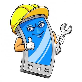 Personagem de desenho animado de um smartphone segurando a ferramenta de ilustração
