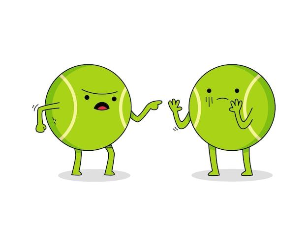 Personagem de desenho animado de uma bola de tênis fofa discutindo