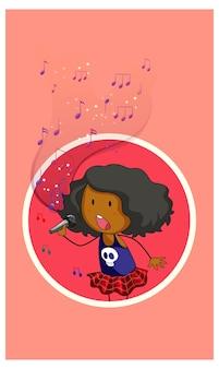 Personagem de desenho animado de uma cantora cantando com símbolos de melodia musical