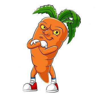 Personagem de desenho animado de uma cenoura de ilustração