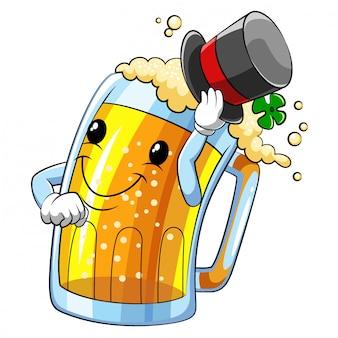 Personagem de desenho animado de uma cerveja de ilustração