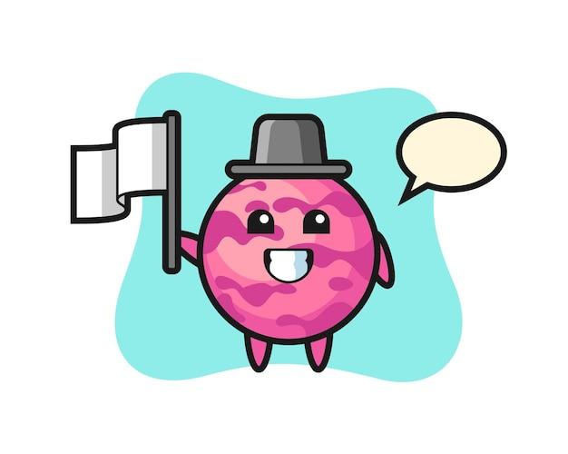 Personagem de desenho animado de uma colher de sorvete segurando uma bandeira, design de estilo fofo para camiseta, adesivo, elemento de logotipo
