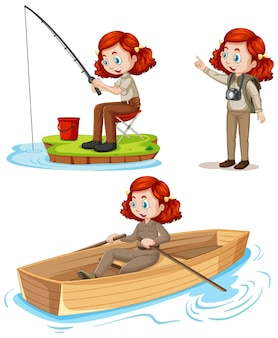Personagem de desenho animado de uma garota em trajes de acampamento, fazendo atividades diferentes