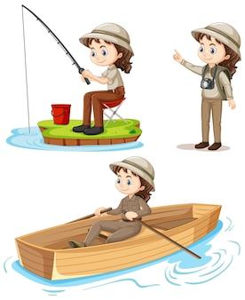 Personagem de desenho animado de uma garota em trajes de acampamento fazendo atividades diferentes